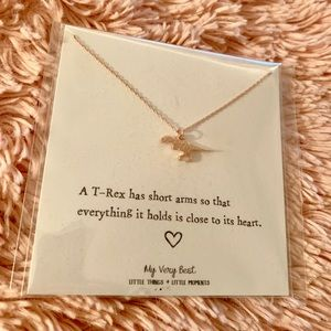 My Very Best Tiny T-Rex Necklace in rose gold: NWT